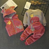 2018年秋冬装男1女宝宝衣服2婴儿童3棉衣4岁加绒加厚卫衣三件套装 西瓜红 皇冠象加绒三件套
