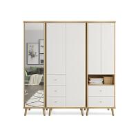 简易衣柜组合式北欧小户型衣柜简约现代经济型组装板式衣橱卧室家具实木脚衣柜 +C款 2门