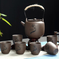 红兔子家用泡茶壶茶杯整套紫砂提梁壶一壶六杯功夫茶具套装