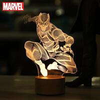 漫威周边正版黑豹手办美队模型蜘蛛侠男生创意生日礼物LED小夜灯