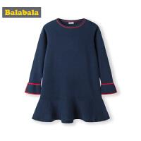 巴拉巴拉童装女童裙子儿童公主裙2019新款秋装针织长袖连衣裙洋气