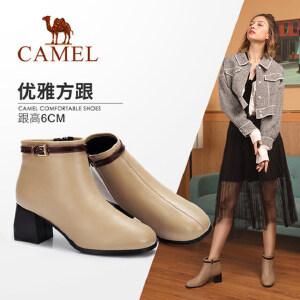 Camel/骆驼2018冬季新款 粗跟淑女优雅气质复古舒适拉链短筒女靴