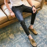 秋季新款弹力九分牛仔裤男士修身破洞9分黑色休闲裤子男韩版潮流