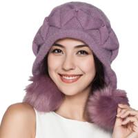冬季帽子女兔羊毛加厚毛线帽 护耳保暖针织帽