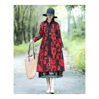 秋冬装新款民族风女装复古大码中长款长袖棉麻加绒加厚风衣外套潮