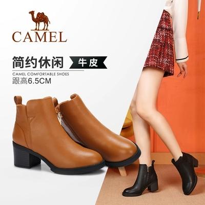 Camel/骆驼女鞋 2018冬季新品时尚英伦高跟靴子真皮舒适保暖短靴