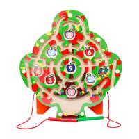 木制磁性迷宫益智玩具 亲子玩具双磁棒 木质环形运笔迷宫智力玩具