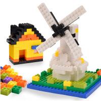 小颗粒积木拼装儿童塑料拼搭建筑幼儿园智力玩具3-6周岁男孩 1300粒收纳箱装送加厚底板*2