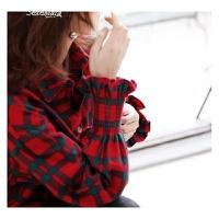 舒适本色红黑经典色法兰绒灯笼收口袖中长款格子衬衣18早春 如图 2