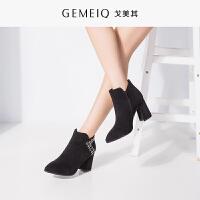 戈美其秋冬新款深口女鞋尖头细跟高跟粗跟鞋通勤欧美平跟单鞋