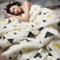 珊瑚毛绒毯子冬季加厚法兰绒毛毯加绒床单保暖被子双层床垫 150cmx200cm 单层加厚