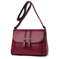 中年女包妈妈包带盖单肩斜挎包大容量软皮中老年包包