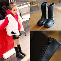 女童鞋2018秋冬季新款儿童靴子韩版保暖马丁靴女孩长靴加绒高筒靴 黑色加绒