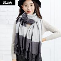 围巾女冬天长款加厚时尚韩版冬季保暖百搭围脖女条纹仿羊绒披肩