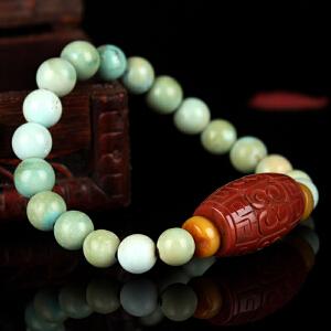原矿高瓷绿松石圆珠DIY手串 配南红 重量22.50g