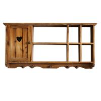 置物架层架 壁挂餐厅收纳柜实木格带门装饰搁板田园原木复古