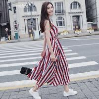 吊带条纹雪纺连衣裙女中长款2018夏新款v领波点无袖沙滩chic裙子 红色