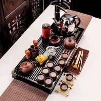 功夫茶具套装家用整套简约实木茶盘茶壶全紫紫砂小兰香二合一套装