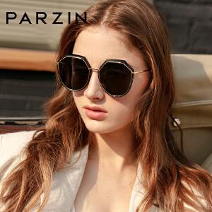 帕森2019新品偏光太阳镜 女士金属多边形大框潮流墨镜驾驶镜91606