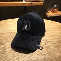日系帽子女士春夏季镶钻水钻丝绒棒球帽韩版潮流休闲百搭鸭舌帽子 可调节