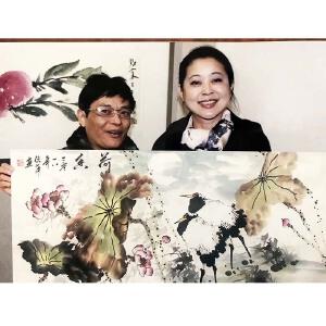 中央电视台著名主持人倪萍老师四尺整纸作品《荷花》【附合影】PYQ