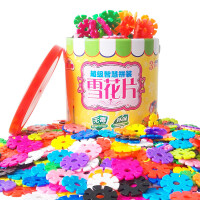 加厚桶装12色雪花片大号儿童益智拼插积木玩具3-6周岁