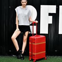 韩版复古行李箱万向轮铝框拉杆箱男旅行箱子女小清新24寸28行礼箱 防刮红色 结婚