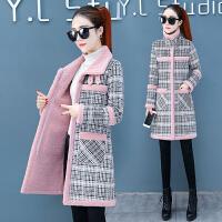 羊羔毛格子加厚加绒中长款棉衣外套女2019冬季新款流行呢子大衣