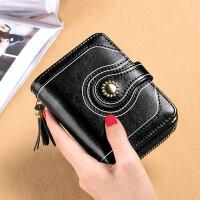 钱包女短款牛皮小钱包卡包一体包多功能折叠卡位零钱b 黑色