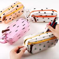 创意几何帆布简约笔袋学生可爱大容量多层功能文具袋男女生