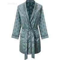 性感睡衣女春秋和服式睡袍短款日式系带浴袍夏季家居服 灰绿色(单件睡袍)