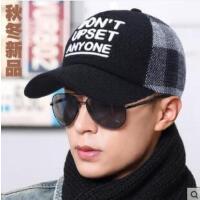 棒球帽男韩版字母鸭舌帽时尚个性平檐保暖帽加绒青年男帽子