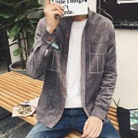 春秋装新款男纯色灯芯绒衬衫长袖衬衫