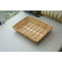 创意简约收纳筐超市展示筐幼儿园整理篮编织面包水果篮子零食筐家居日用收纳用品 原色 60*40*10CM