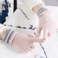 手套女冬天时尚韩版保暖可爱学生加绒加厚骑车五指分指可触屏手套