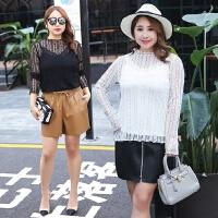 韩版时尚加肥加大码女装胖MM小性感镂空透视蕾丝衫打底衫秋季新款
