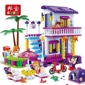 【当当自营】邦宝小颗粒益智拼插媚力沙滩女孩积木玩具礼物海滨度假屋6138
