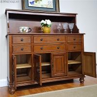 现代简约美式纯全实木家具餐边柜备餐柜边柜水曲柳胡桃色 现货 4门