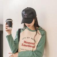 街头潮人个性黑粉色字母帽子女 韩版女士鸭舌帽大脸棒球帽 日系太阳帽