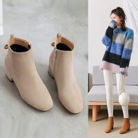 201810200119247单靴女韩版蝴蝶结方头裸踝靴中跟2018春秋冬季百搭加绒粗跟短靴子