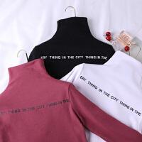 秋冬女装新款韩版字母弹力修身百搭打底衫半高领长袖T恤上衣