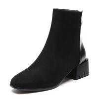 短靴女2018秋冬新款粗跟复古中跟后拉链小跟瘦瘦靴简约圆头及踝靴 黑色加绒