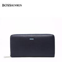 BOSSsunwen正品 男款手包牛皮拉链软牛皮男士钱包长款休闲手抓包S55-203800K1
