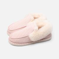 加厚保暖包跟棉拖鞋女 冬季家居室内情侣防滑月子毛绒拖鞋 浅粉 毛绒款