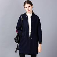 �莱中长款毛呢外套女2016秋冬季新款韩版修身女装棒球服长袖毛呢大衣