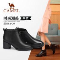 骆驼女鞋2018冬季新款短靴 秋季时尚韩版百搭真皮靴子粗跟女靴