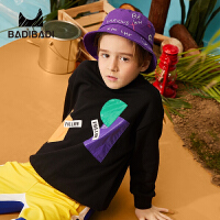 【2件3折:45】巴拉巴拉旗下 巴帝巴帝男童卫衣19春新款不规则贴布黑色中大童