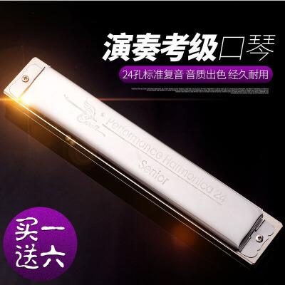 口琴24孔C调高级演奏考级复音C调银色口琴SW24H