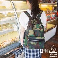 新款2018韩版原宿迷彩双肩包情侣休闲学生书包学院风潮流旅行背包 迷彩