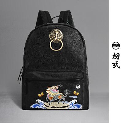 【支持礼品卡支付】初弎中国风潮牌复古狮子头书包神兽火麒麟刺绣双肩背包男女41125全国包邮